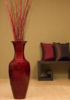Bamboo Floor Vase with Floral Arrangement