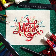 Mark Christmas handlettering painted typography inspiration on TypeRiot Calligraphy Letters, Typography Letters, Modern Calligraphy, Graphic Design Typography, Lettering Design, Caligraphy, Penmanship, Typography Served, Calligraphy Handwriting