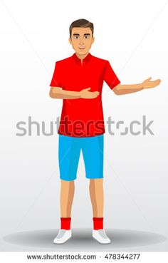 Vector illustration of a young handsome man in sport uniform , with standing position.