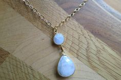 Gold Filled Necklace and Moonstone Charms by IrisMDesigns on Etsy, $30.00