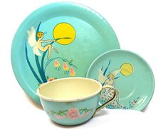1930s FARIES tin toy tea setting with Tinkerbell graphics. Art Nouveau flowers.