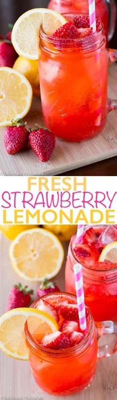 Advertisement Ingredients: 1 cup granulated sugar 1 cup water 2 cups fresh strawberries, hulled and sliced 1 1/2 cups fresh lemon juice (about 6 medium lemons) 6 cups cold water ice 1 cup strawberries, chopped for topping lemon slice, for garnish Directions: STEP 1: In a small sauce pan, bring sugar and water to a ...