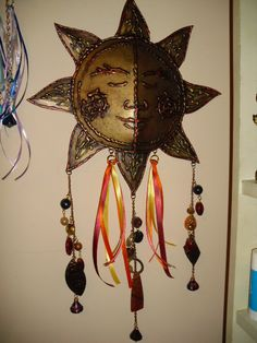 """Golden Sunshine"" Hot Glue Art 3D Wall Hanging with beads & charms of polymer clay"