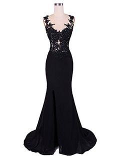Ikerenwedding Women's Lace Applique Split Long Evening Dress Party Gowns Black US04 Ikerenwedding http://www.amazon.com/dp/B01DBPXMMI/ref=cm_sw_r_pi_dp_Iek9wb0K79GVM