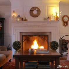 Winter Mantel Decor - fireplace at night