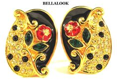 VINTAGE LAGE MULTI COLOR CRYSTAL RHINESTONES ENAMEL ROSE FLOWER 3D CLIP EARRINGS #CLIP