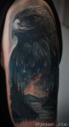 Eagle Space Lake Tattoo by Jesse Rix -I wouldn't want this but it is amazing work