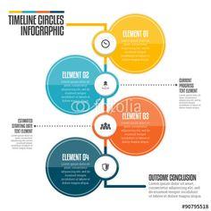 Vector illustration of vertical timeline circle infographic design.