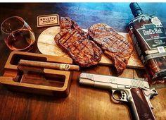 The weekend is near, keep hustling! | @tactical_dad_rj #cigarsandguns #cigars #guns #2a #steak #whiskey #1911 #gunporn #puffpuffpewpew (at Austin, Texas)