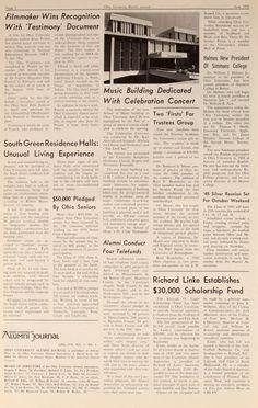 "Ohio University Alumni Journal, June 1970. ""Music Building Dedicated With Celebration Concert"""