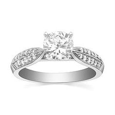 Style 64-S10047 Engagement Ring with 0.15CT side diamonds. 14K yellow or white gold.