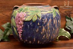 Roseville Pottery 1933 Blue Wisteria Round Vase #632-5 - The Kings Fortune Art Nouveau, Art Deco, Round Vase, Roseville Pottery, Ink Stamps, Wisteria, Pottery Art, Ceramic Art, American Art