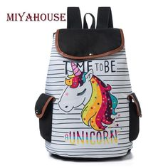 Printed School Backpack For Teenager Drawstring Deisgn Female Travel  Rucksack Canvas 8c1d9f60c377d