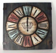 relojes de pared vintage - Buscar con Google Clocks Inspiration, Cabin Crafts, Woodworking Inspiration, Wall Clock Design, My Ideal Home, Wooden Spools, Wood Clocks, Grandfather Clock, Large Clock