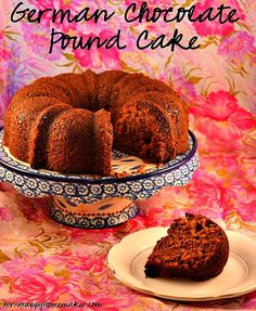 German Chocolate Pound Cake - made from a cake mix with a tub of frosting mixed into the batter. use GF cake mix German Chocolate Icing, Chocolate Pound Cake, Chocolate Cake Mixes, Homemade Chocolate, Chocolate Frosting, Coconut Frosting, Chocolate Desserts, Cake Mix Recipes, Pound Cake Recipes