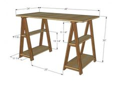 I want to make this!  DIY Furniture Plan from Ana-White.com  Inspired by Restoration Hardware's Sawhorse Trestle Desk, this easy to build version is doable by most any DIYer! Using standard off the shelf lumber, a premade project panel for the tabletop, you can build yourself a solid wood sawhorse desk for a fraction of retail costs! Full plans include everything you need to build for yourself.