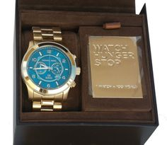 Michael Kors Gold Turquoise Watch Hunger Stop Oversize 100 Series NWT Box MK8315