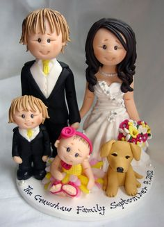 Bride and groom with kids and pet dog wedding cake by ALittleRelic