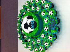 Soccer Cake & Cupcakes Plus Soccer Birthday Cakes, Soccer Party, Girl Birthday, Soccer Cakes, Soccer Banquet, Sports Party, Birthday Ideas, Soccer Treats, Kids Party Themes
