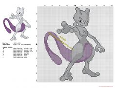 Mewtwo Legendary Pokemon free cross stitch pattern