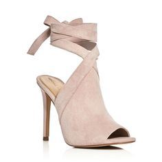 Kendall and Kylie Evelyn Ankle Tie High Heel Sandals ($105) ❤ liked on Polyvore featuring shoes, sandals, heels, light pink, ankle wrap sandals, ankle strap shoes, light pink shoes, heeled sandals and ankle wrap shoes