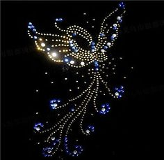 Hand-made Rhinestone Transfer Hot fix Motif Fashion Design Butterfly Waltz Line
