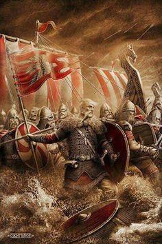 Northmen. Once again dispelling the myth that Viking battle helmets had horns.