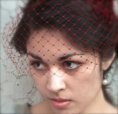 "Valentine Veil, Bird Cage Veil, Vintage Netting, Bridal, Wedding, Bandeau Veil, Combless Veil, Veil, 8"" Inch, Red, Crimson, Boudoir Prop"