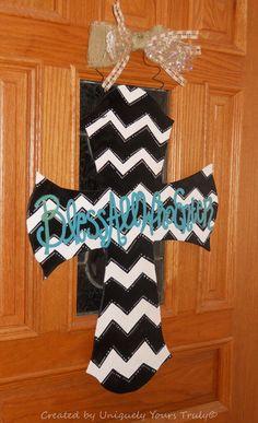Chevron Print Wooden Cross Door Hanger by UniquelyYoursTruly Cross Door Hangers, Wooden Door Hangers, Wooden Doors, Cross Art, Religious Cross, Cross Paintings, Crucifix, Xmas Gifts, Crosses