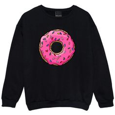 Donuts Sweater Jumper Womens Ladies Fun Tumblr Hipster Swag Fashion... ($26) ❤ liked on Polyvore featuring tops, sweaters, shirts, black, sweatshirts, women's clothing, shirts & tops, grunge shirts, star sweater and hipster sweater