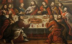 Pintura Cusqueña. La ultima cena. Marcos Zapata. 1753. SXVIII. Catedral  de Cusco. Peru.