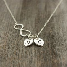 Personalized Silver Infinity Necklace Hand Stamped by sevgicharms