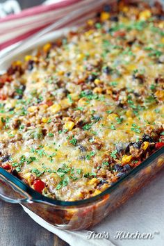 Super easy enchilada casserole is going to become your new family favorite. Naturally gluten free and really tasty. | tiaskitchen.com/easy-enchilada-casserole