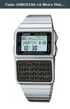 Casio #DBC610A-1A Men's Vintage Stainless Steel Band 50 Telememo Calculator Watch. Old school type calculator/databank from Casio which is very retro in design. First introduced in the late 1980s, this watch continues in production with the only change being a switch from orange to green nightlight of the old side lit variety. Great for those who prefer the old designs to the new!.