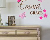 Personalized Name Flower Butterfly Wall Decal Lettering Shabby Girls Bedroom Decoration FREE SHIPPING by landbgraphics on Etsy, $26.99 USD