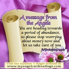 Get your own FREE Angel message(s) HERE http://www.myangelcardreadings.com/freeangelmessages …