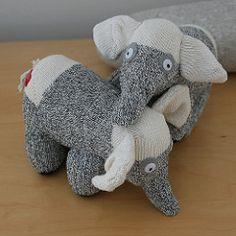 Sewing Stuffed Animals eddy and ellie sock elephants Sock Elephant Pattern, Sock Monkey Pattern, Diy Sock Toys, Sock Crafts, Crotchet Animals, Sock Animals, Clay Animals, Sewing Stuffed Animals, Stuffed Animal Patterns