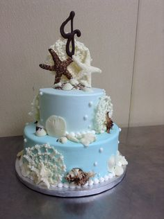 Beach sea shell cake made with buttercream icing and handmade chocolate seashells by Laurie Grissom Handmade Chocolates, Buttercream Icing, Seashells, How To Make Cake, Cake Ideas, Pasta, Cakes, Beach, Desserts