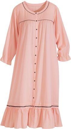 Lanz of Salzburg nightgown, peach with black accents. Lovely Dresses, Stylish Dresses, Pajama Outfits, Kids Outfits, Lingerie Sleepwear, Nightwear, Hamilton Outfits, Cotton Nighties, Nightgowns For Women