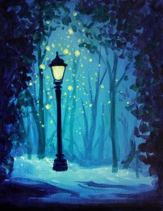 Magical Lamp Post at SuzyQue's BBQ and Bar - Paint Nite Events