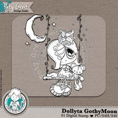 """Dollytas Collection """"Dollyta Gothy Moon"""" Exclusive Designs by Paty Greif. Pack with 1 digi stamp"""