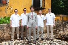 Casual (and comfy!) groomsmen in guayabera shirts