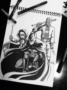 BatFamily #Batman #Robin #RedHood #DC #Art #Geek