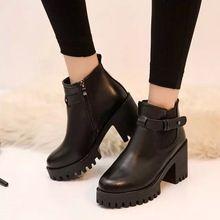 2016 otoño y el invierno de moda negro de tacón alto del todo fósforo de la hebilla martin plataforma del talón grueso de la mujer zapatos casuales(China (Mainland))