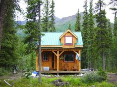 Wheaton River Cabin in the Summer - Tiny House Living Tiny Cabins, Tiny House Cabin, Log Cabin Homes, Cabins And Cottages, Tiny House Living, Log Cabins, Tiny House Movement, Little Cabin, Little Houses