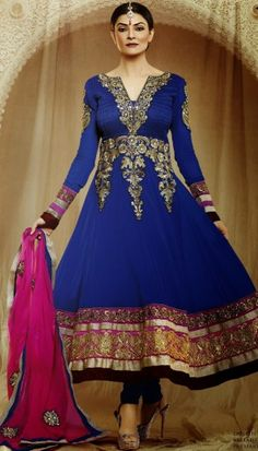 blue poly georgette resham stone embriodery long anarkali suit with chiffon dupatta.