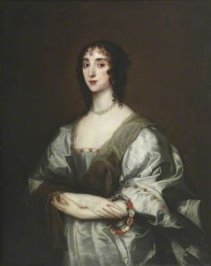 Cecilia Killigrew (née Crofts) (d.1638) a maid of honour to Queen Henrietta Maria - (formerly identified as 'Henrietta Maria') by Anthony van Dyck (after) in the collection of The Queen's College, University of Oxford