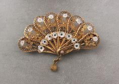 Vintage filigree fan brooch pin gold washed and silver 800 silver  #Unsigned
