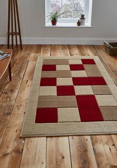 Matrix Stylish Rugs in Beige and Red on Sale at and available to order from Capital Rugs UK. Beige Carpet, Diy Carpet, Rugs On Carpet, Painting Carpet, Flannel Quilts, Crochet Carpet, Latch Hook Rugs, Affordable Rugs, Hallway Carpet Runners