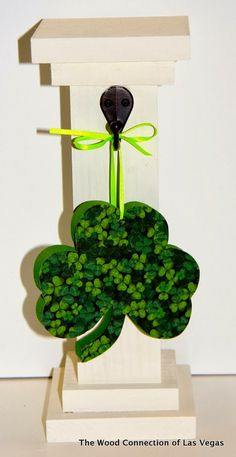 The Wood Connection of Las Vegas:  Mini Post Shown with Shamrock Wood Ornament each sold separately